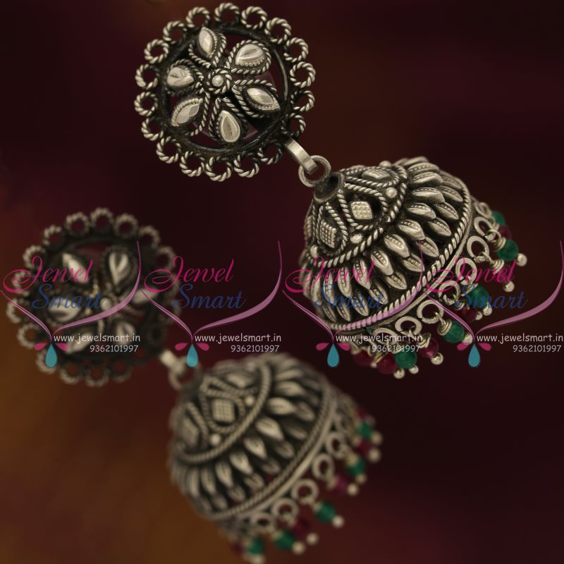 oxidized online collections ko silver earrings chand bali shopping jewellery page