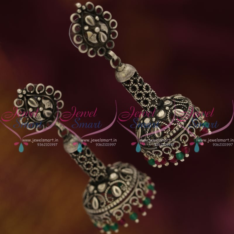latest finish earrings designs online jhumka oxidised jewelsmart jewellery buy silver