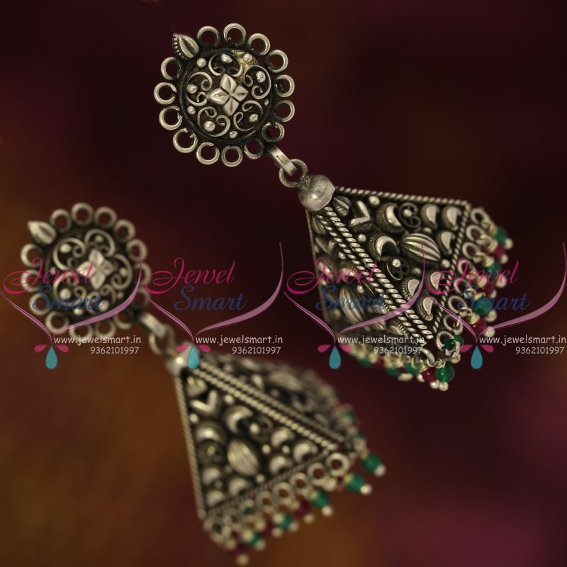 latest earrings online jewellery designs jhumka finish buy oxidised silver jewelsmart