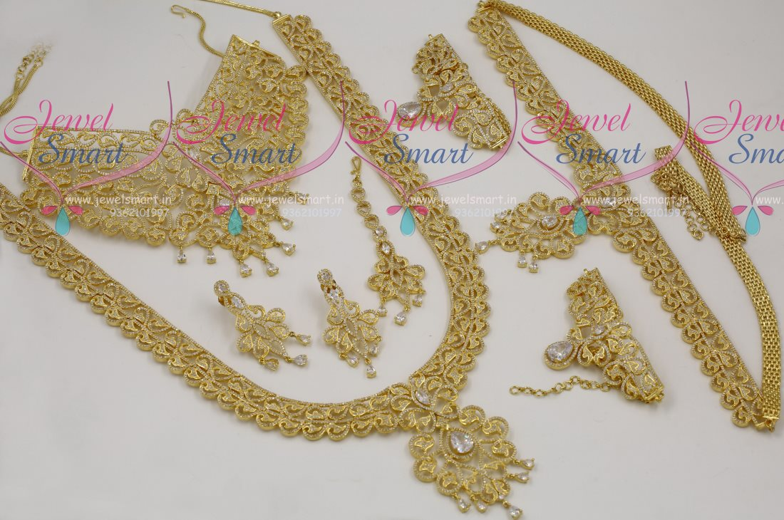 BR7377 Exclusive Wedding Dulhan AD Gold Plated Full Jewellery Set ...