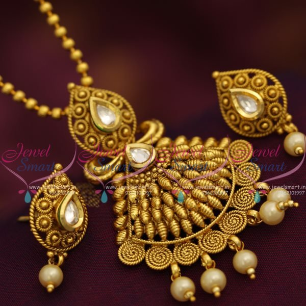 ps7490 antique gold plated pendant chain earrings set