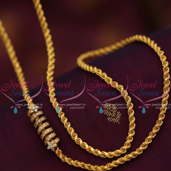 C7495 Thali Kodi Chain Full White Fancy Mugappu 3 5 Mm 24