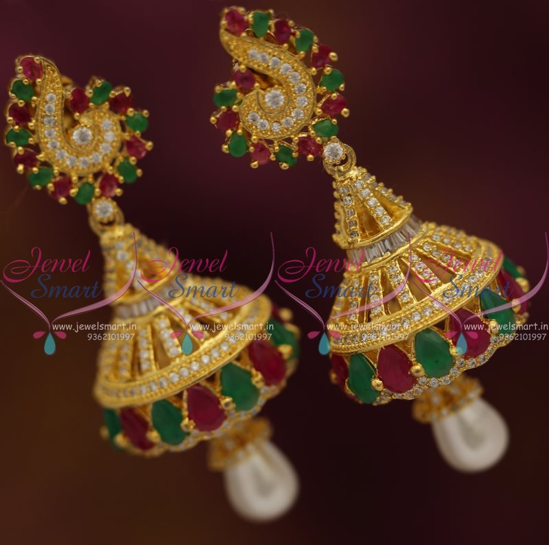 J7577 Ruby Emerald CZ Peacock Design Gold Plated Jhumka Earrings ...