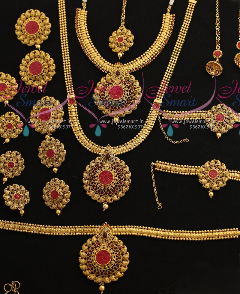 BR7372 Full Bridal Wedding Jewellery Set Latest Invisible Stone Settings Online