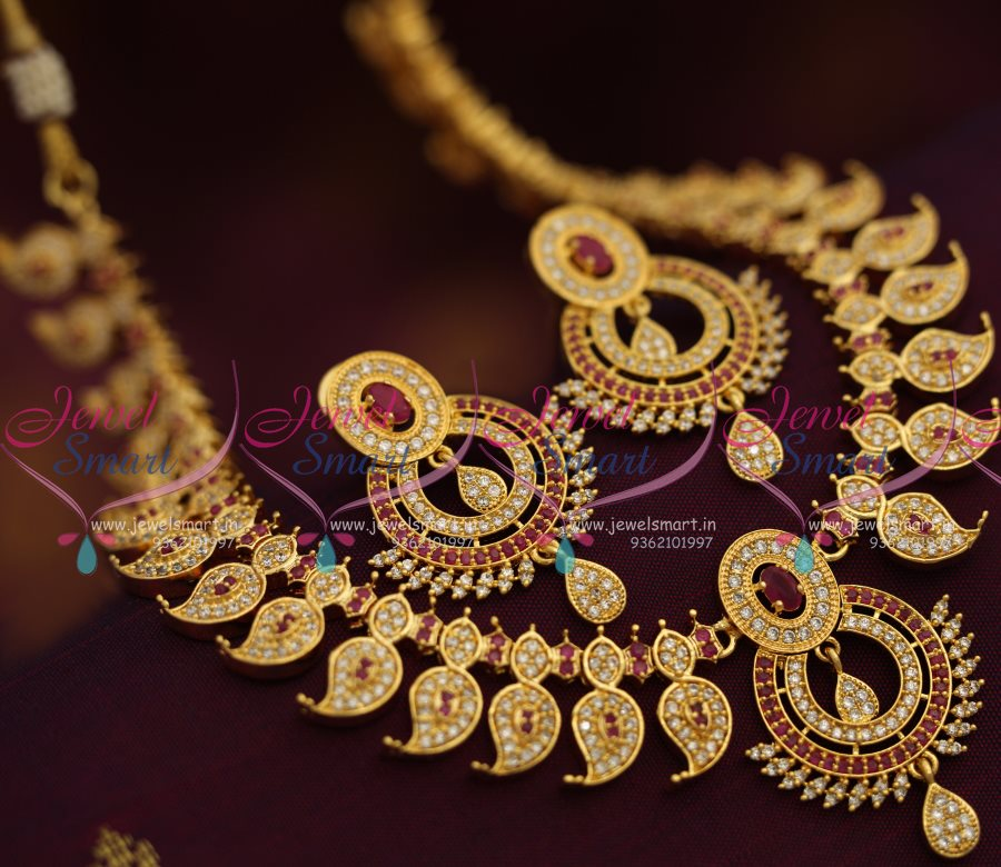 25b1e3ca200784 ... Gold Plated South Indian Traditional Finish Jewellery Online. ruby-mango -design-american-diamond-south-indian-traditional-