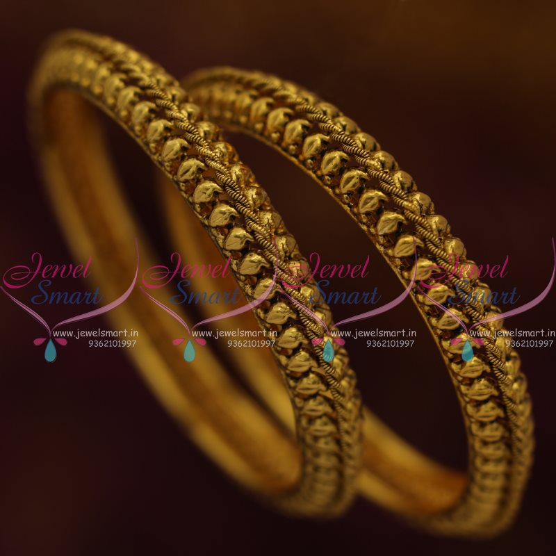 B7756 Latest Design Antique Gold Plated Handmade Fancy Bangles ...