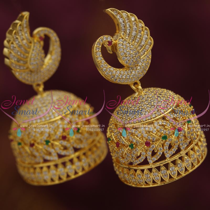 J7621 American Diamond Jewellery Screwback Peacock Big Size Jhumka Multi Colour Stones Shop Online