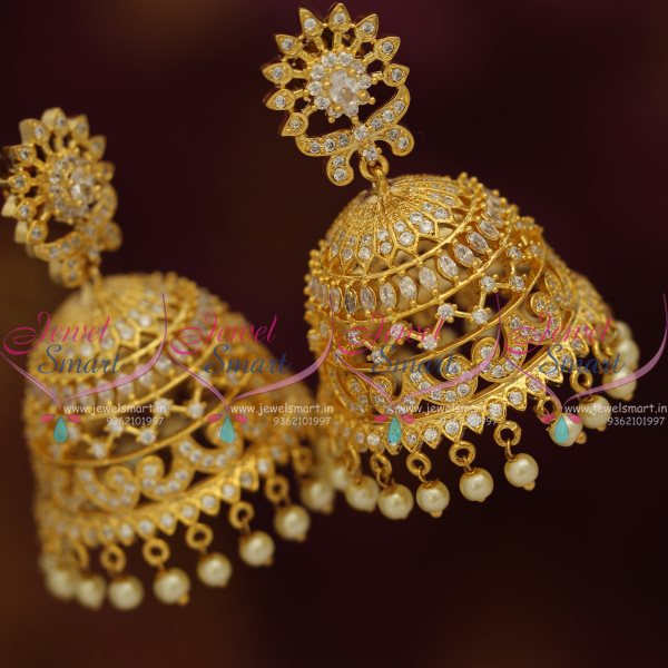 J7671 Big Size Bollywood Style CZ Gold Plated Design Jhumka Earrings Online