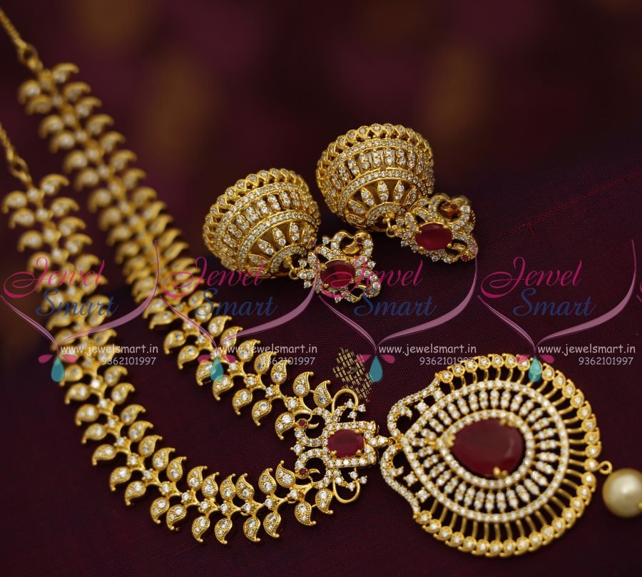 NL7713 Broad Grand CZ Ruby Necklace Big Jhumka Earrings Rich Look ...