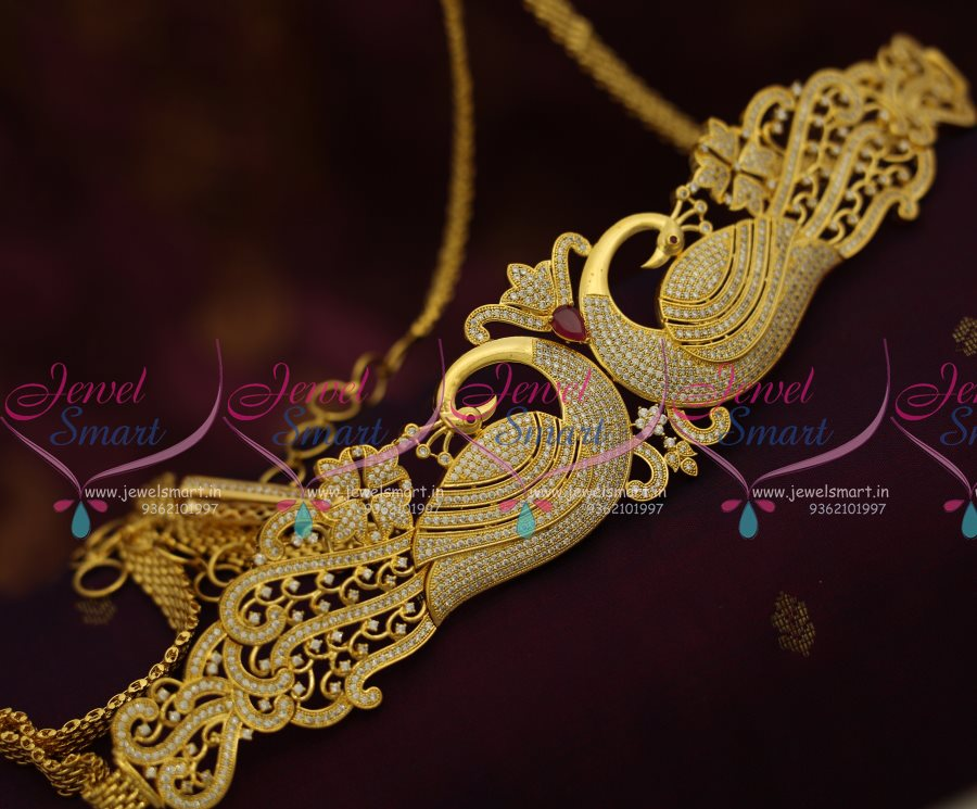 h7693 gold plated peacock jewellery oddiyanam vaddanam