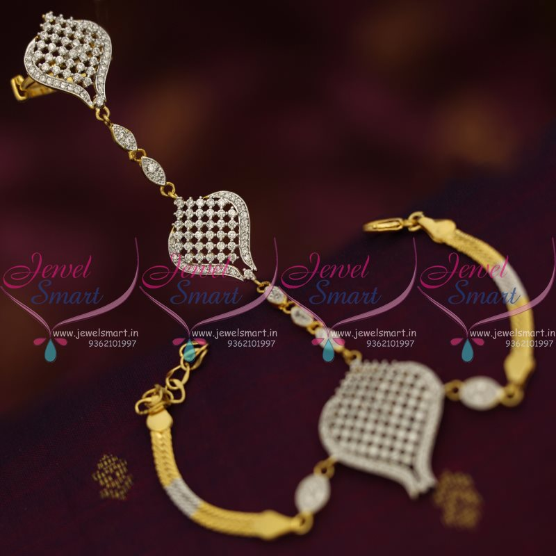 F7624 Gold Silver Hathful Design CZ Finger Ring Bracelet Linked
