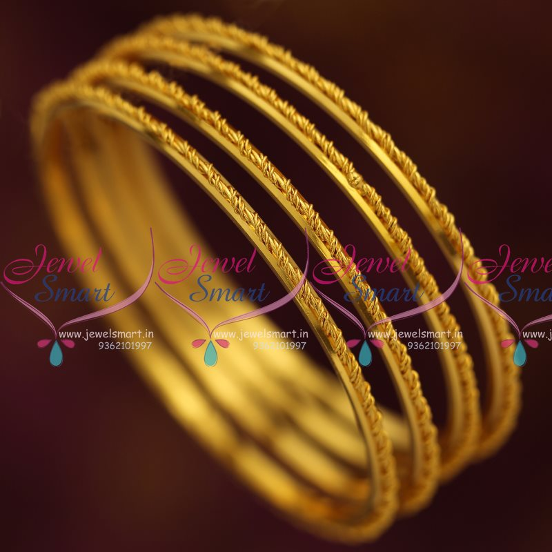 B7808 Thin 4 Pieces Set Spiral String Design Fancy Bangles ...