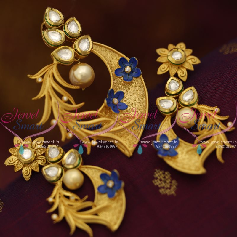 PS7596 Mat Finish Gold Design Kundan Fashion Jewellery Pendant