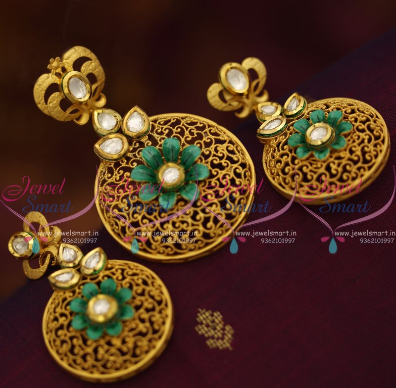 PS7601 Mat Finish Gold Design Kundan Fashion Jewellery Pendant