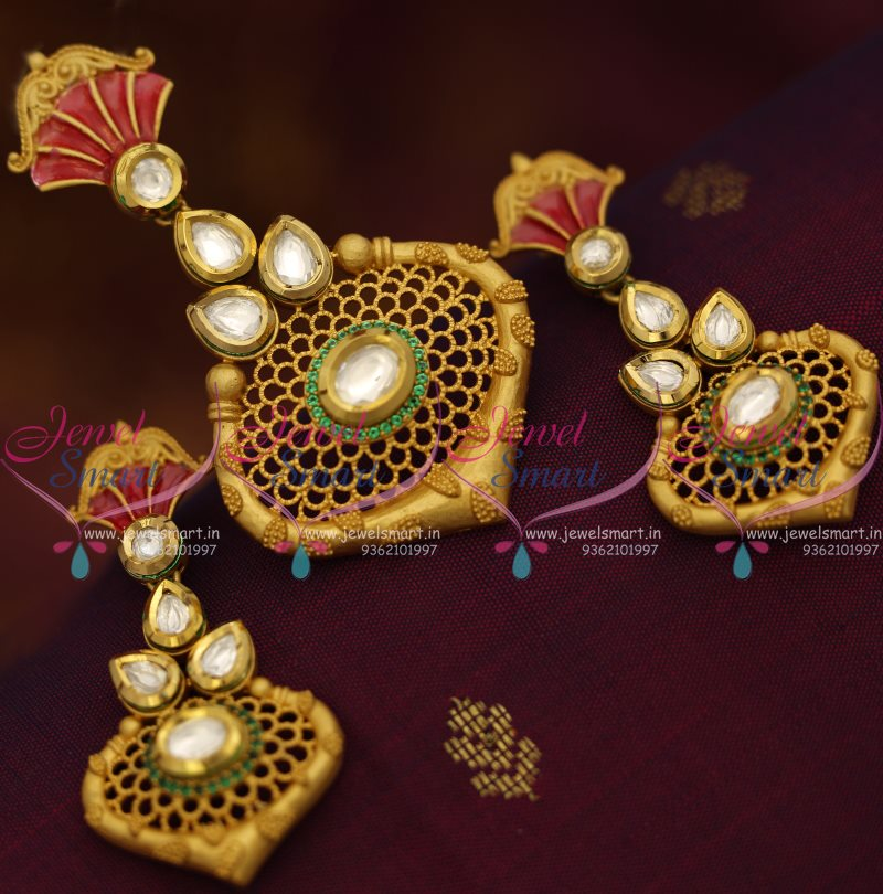 Ps7602 Mat Finish Gold Design Kundan Fashion Jewellery