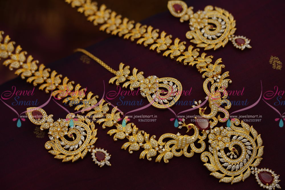 NL7691 Butterfly Peacock Design Broad Long Necklace Haram Ruby White Fashion Jewellery