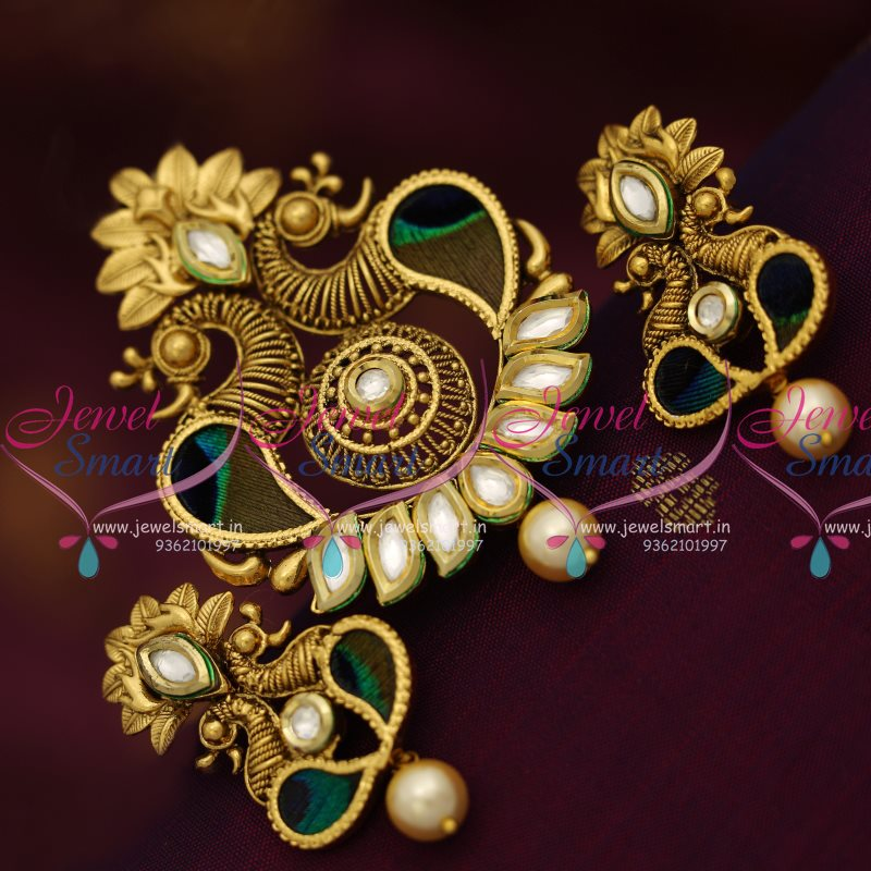 ps7920 kundan antique peacock feathers handwork gold