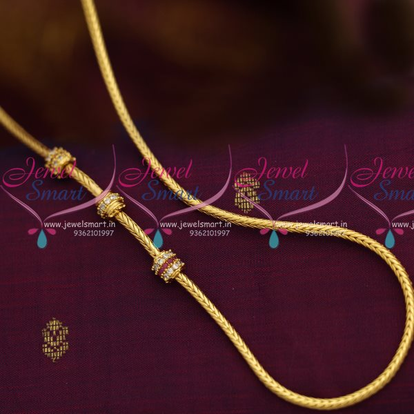 c6238 gold plated 24 inches thali kodi chain stone balls