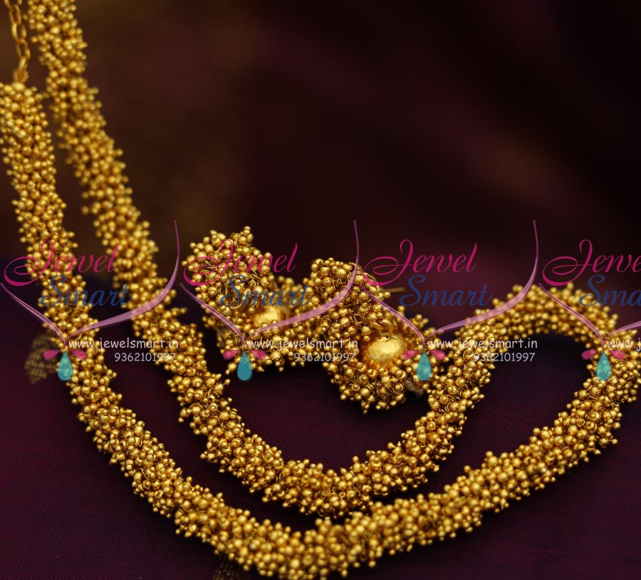 NL8195 Latest Fancy Gold Beads Chain Necklace Matching Jhumka ...