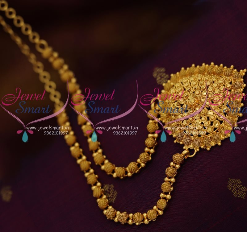 NL7984 South Indian Emboss Design Imitation Gold Plated Necklace ...