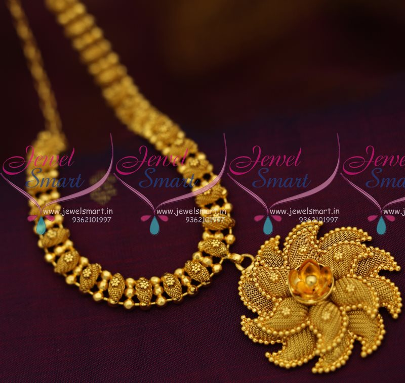 NL8023 Beads Emboss Design South Indian Imitation Gold Jewellery