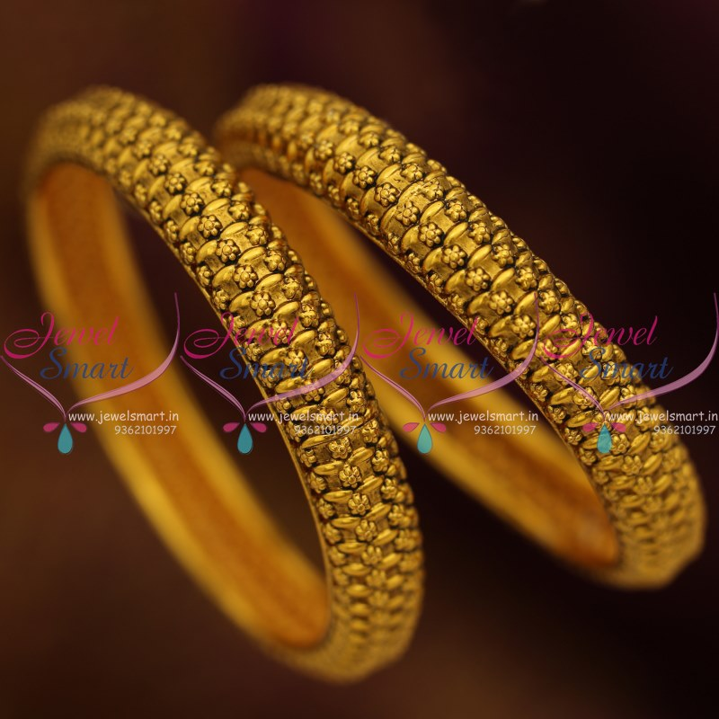 B8452 Antique Gold Plated Light Weight Broad 2 Pcs Bangles Set ...