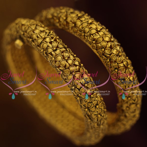B8284 Screw Open Broad Heavy Antique Gold Plated Nakshi