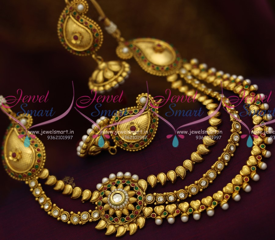 Nl1892 3 Step Mango Necklace Side Kundan Pendant Mango