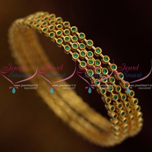 bangles ganapathy traditional stones gram green buy gems plated p stone gold with