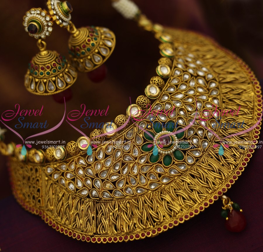 Latest Indian Gold Jewellery Sets Designs For Bridal 2016: NL8748 Broad Antique Grand Choker Necklace Jhumka Earrings