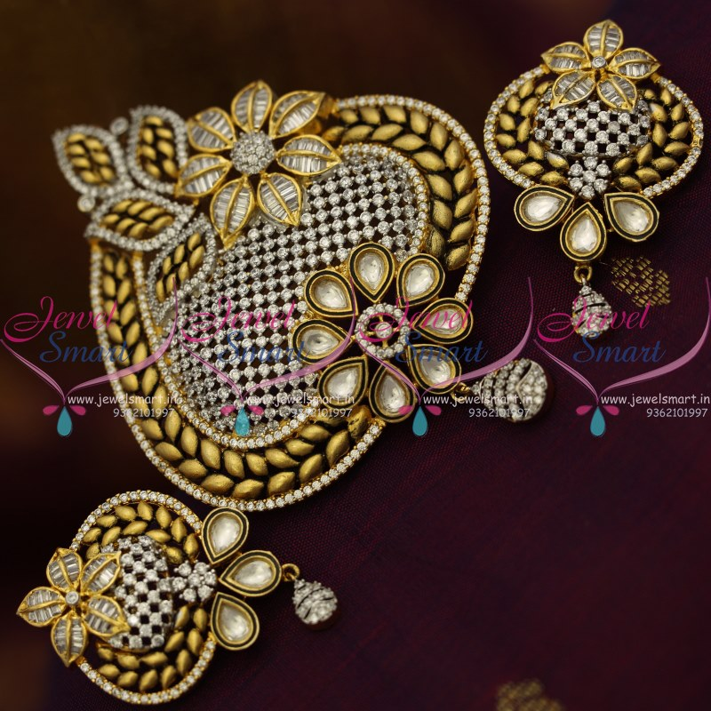 ps8809 latest fusion designer jewellery kundan big pendant