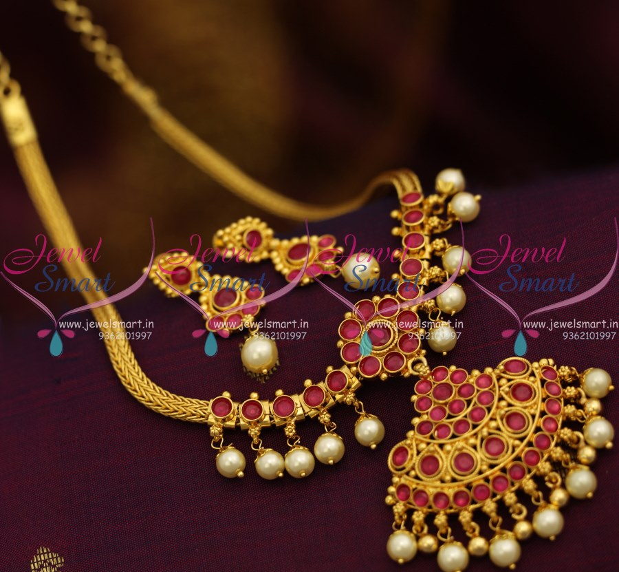 Beautiful South Indian Double Long Necklace Set: NL8728 Red South Indian Traditional Attigai Pearl Jalar