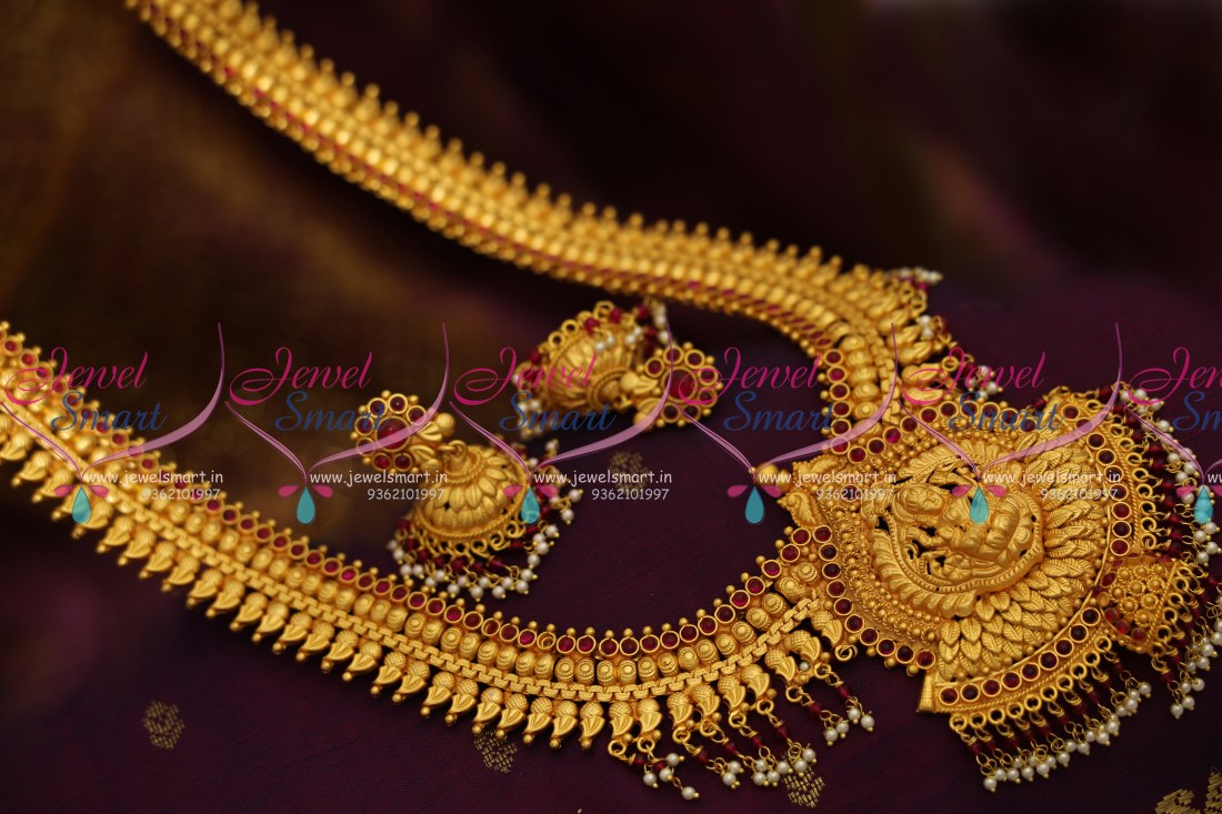 c96225a309632 NL8547 One Gram Mat Gold Finish Copper Tone South Traditional Temple Long  Necklace