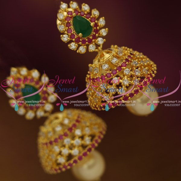 J9092 Ruby Emerald AD Small Jhumka Earrings Shop Online Light Weight Design