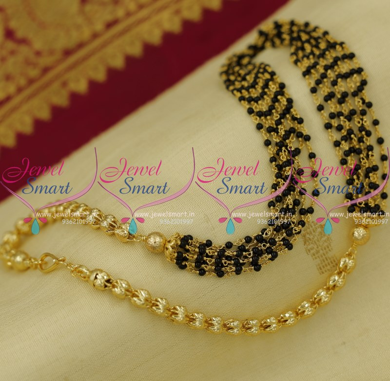 NL9070 Fancy Chain Black Small Copper String Hand Beaded Gold ...