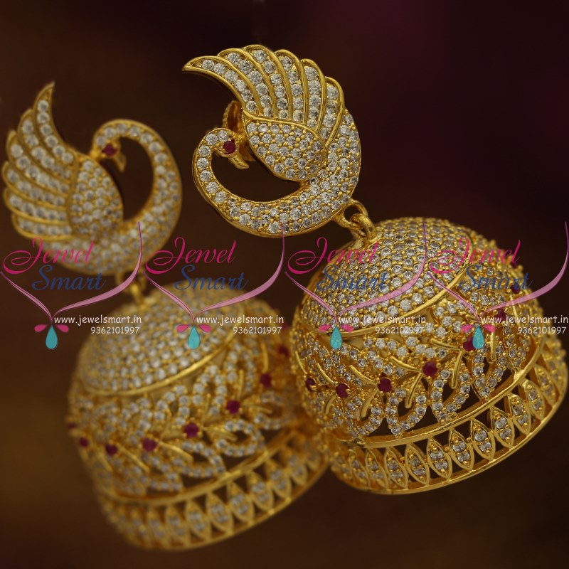 J7620 Big Size CZ Gold Plated Peacock Design Jhumka Earrings Online