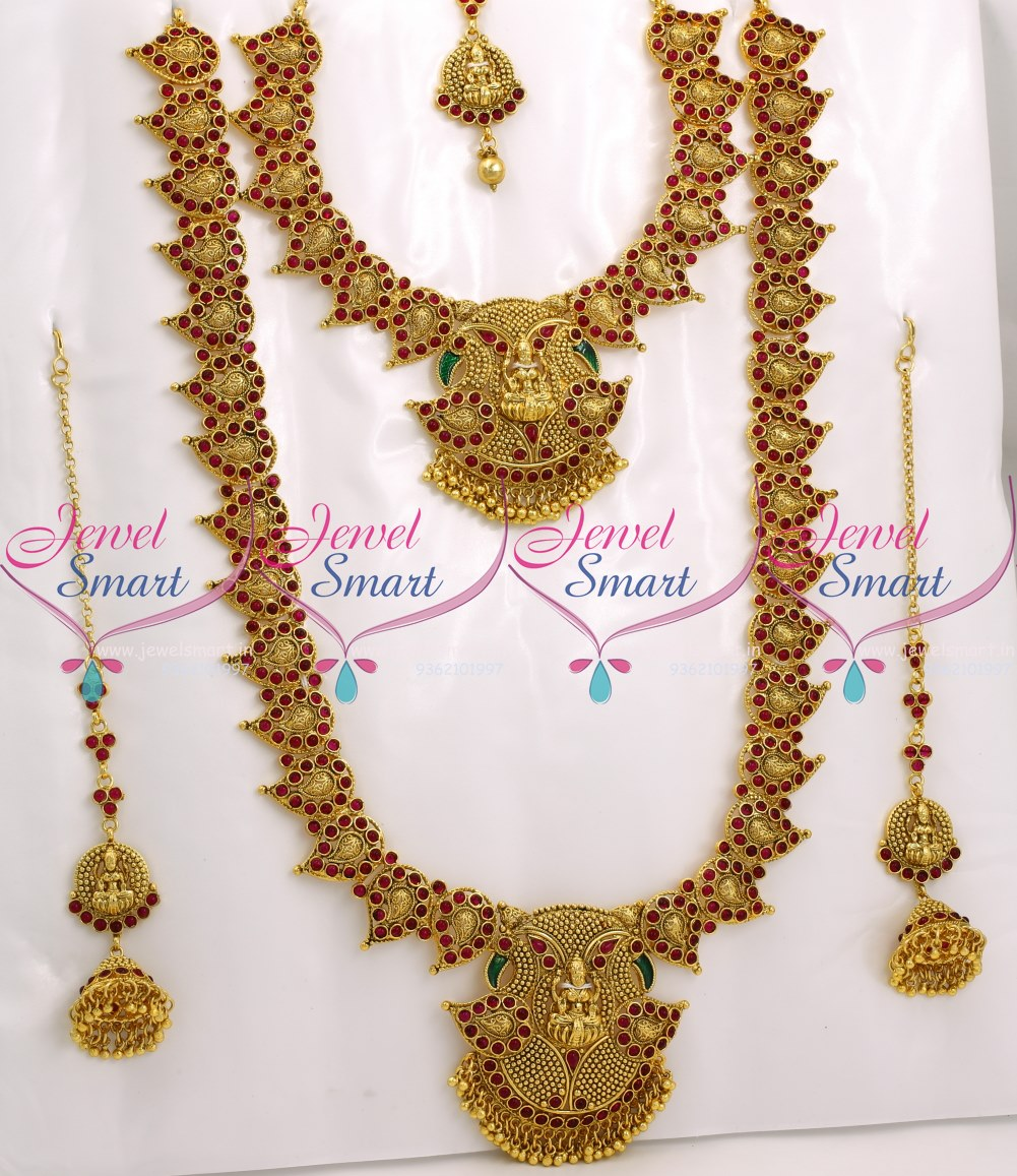 BR9043 Bridal Temple Mango Jewellery Set Red Kemp Stones Traditional South Indian Collections