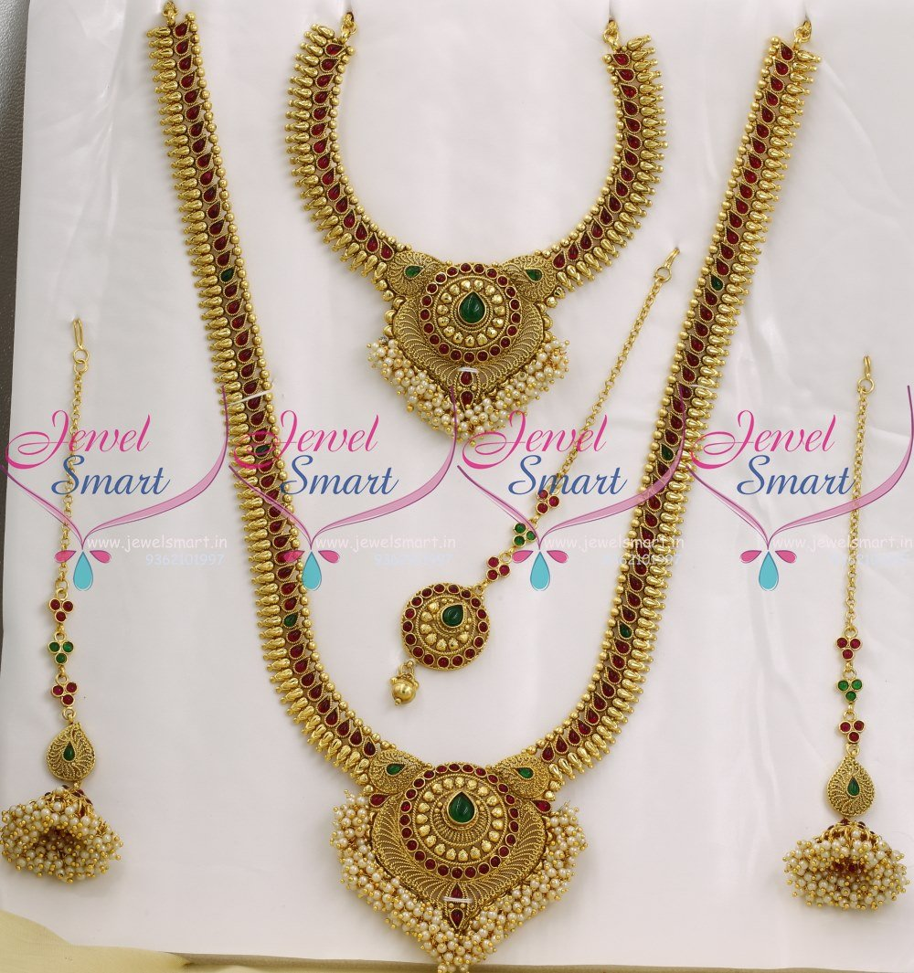 BR9039 Full Bridal Jewellery Set Red Green Kemp Stones Traditional ...
