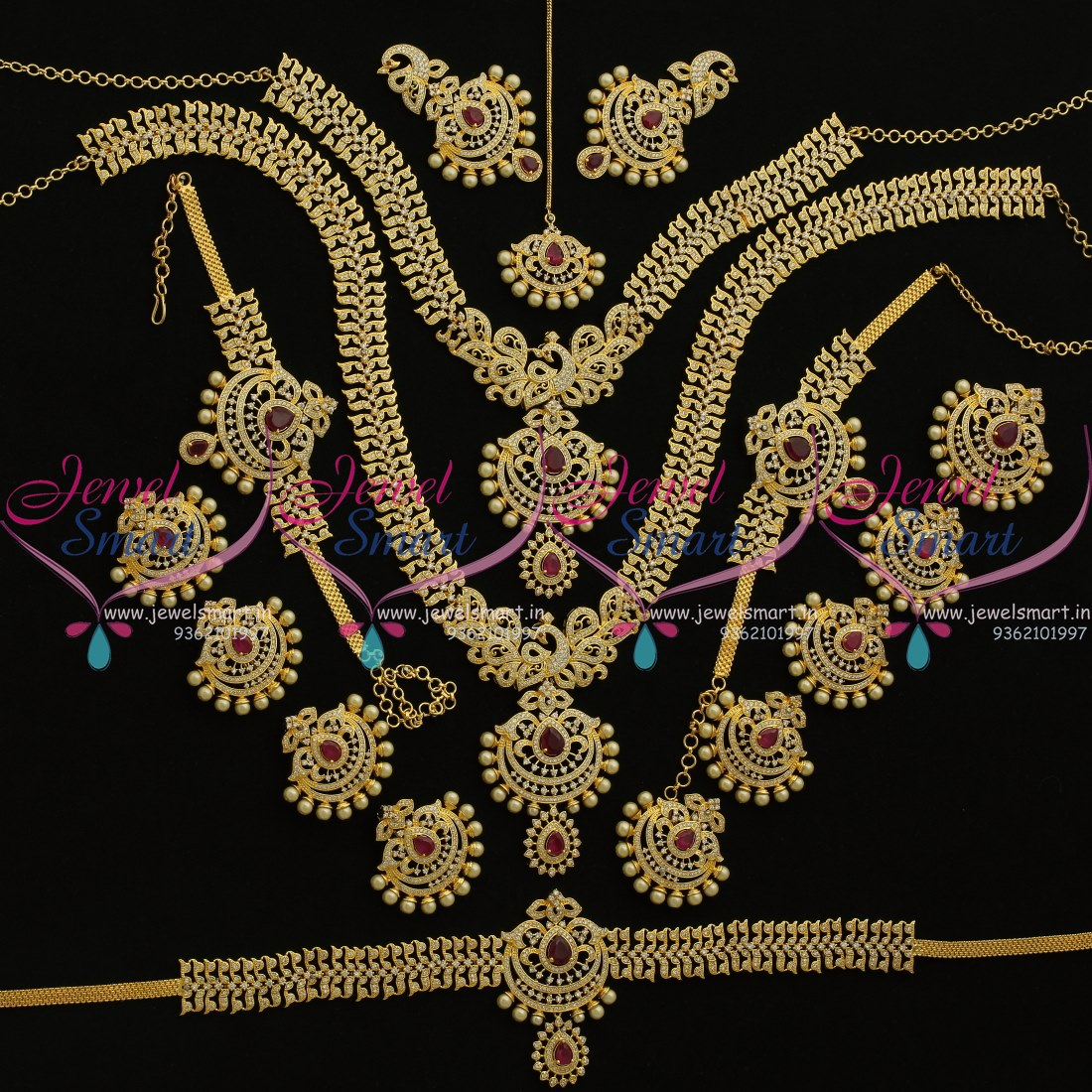 BR9067 Ruby White Gold Plated Peacock Grand Design Full Bridal Wedding Jewellery Set