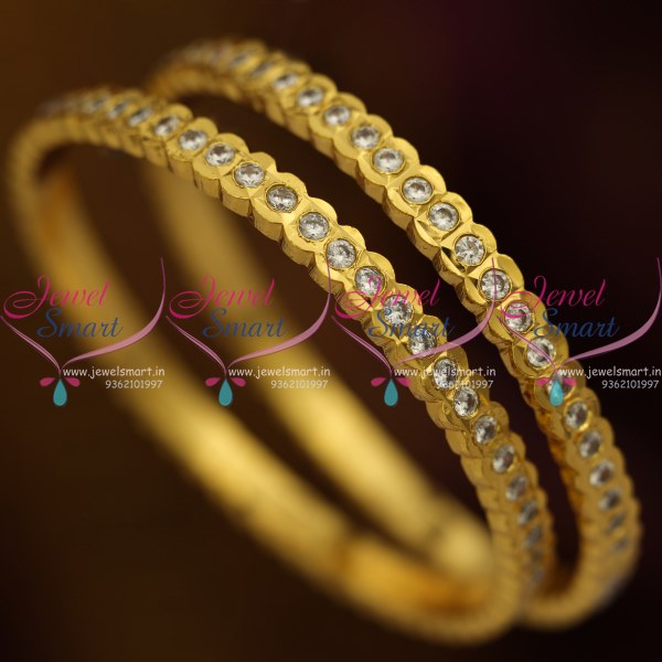 B8837 Gold Plated Traditional Ad White Stones Thick Metal