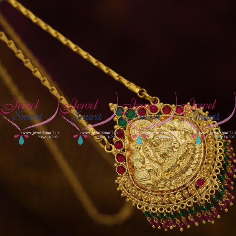 Red Chandelier India: CS9220 Kemp Crystal Drops Gold Plated South Indian Chain