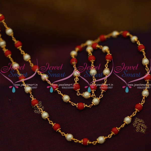 Cs9275 Coral Pearl Mala Combined Cap Beaded Chain 28