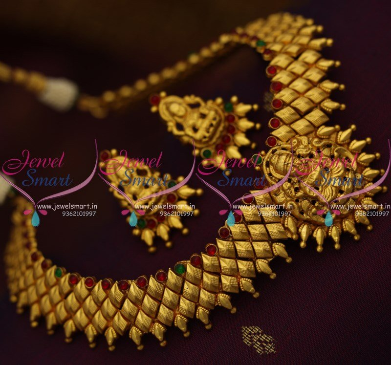076527b06e67b NL9176 Temple Matte One Gram Gold Plated Latest Traditional Jewellery Set  Online
