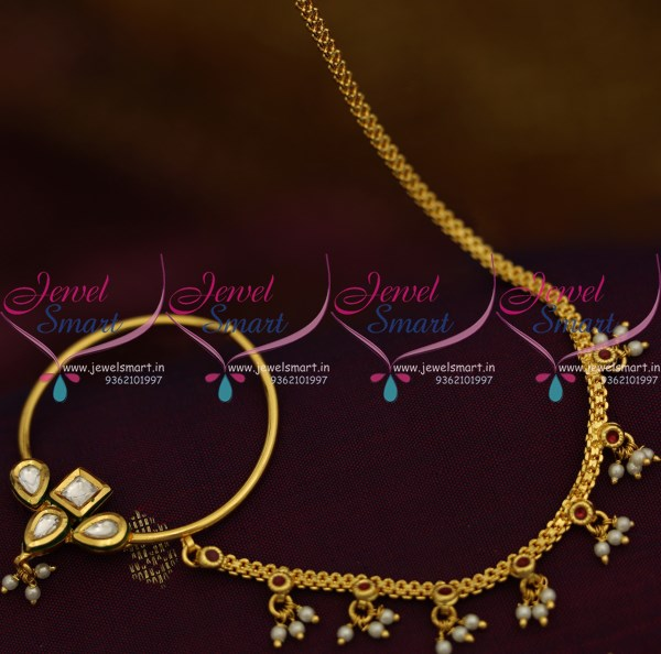 N9255 Kundan Nose Ring Gold Plated Chain Red White Pearl Drops Online