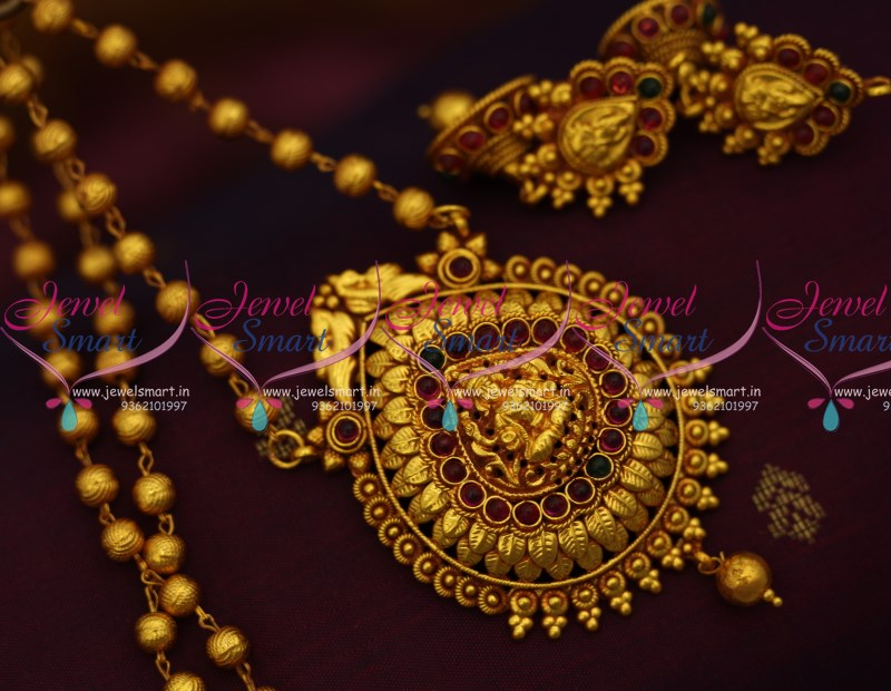 8c0c66388ec20 PS9341 Gheru Gold Plated Temple Jewellery Traditional Antique Finish  Pendant Earrings Beads Chain