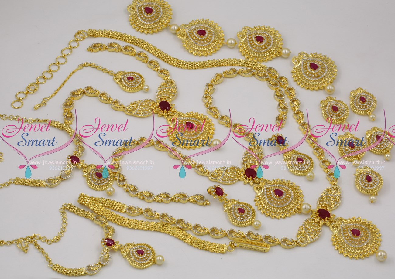 BR9569 American Diamond Peacock Design Ruby White Full Wedding Jewellery Set For Sale Online