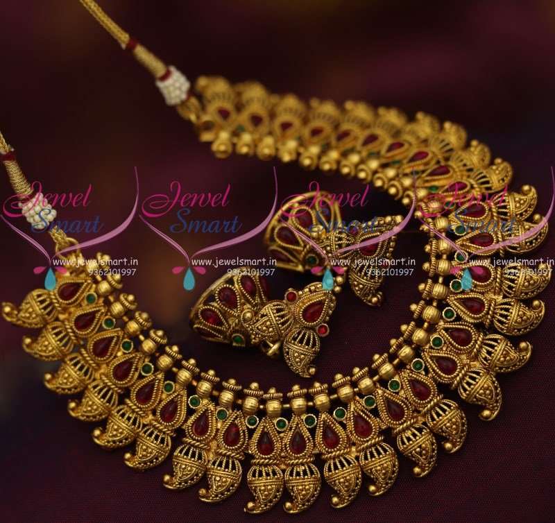 Jewellery India Online Shop Indian Gold Plated Necklace Sets: NL9376 Kemp Mango Design Broad Antique Gold Plated