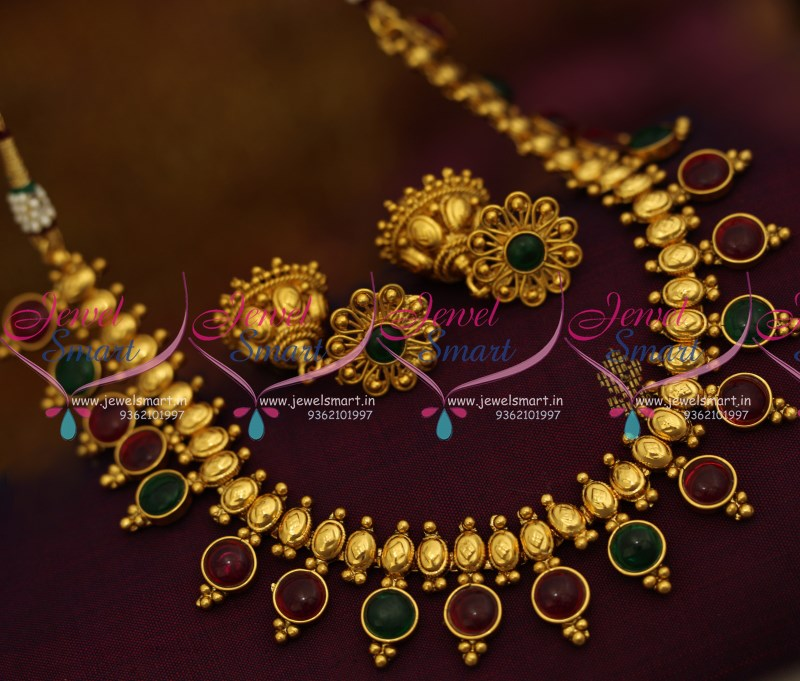 NL9409 Simple Traditional Design Kemp Stones Necklace Fancy Jhumka ...