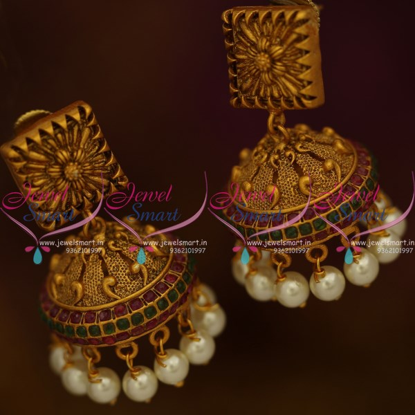 J9469 Floral Design Square Tops Red Green Stone Jhumka