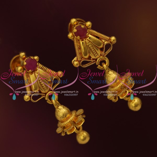 ER9524 Small Size Thin Screw Lock Daily Wear Earrings Buy Online Ruby Stones